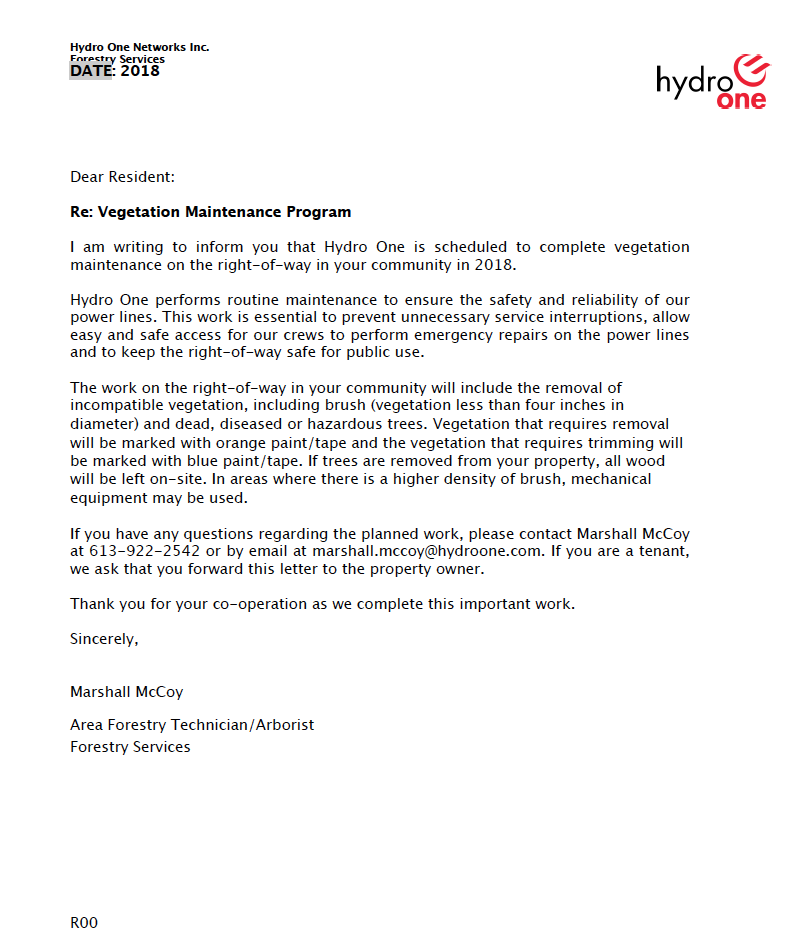 Hydro One Letter