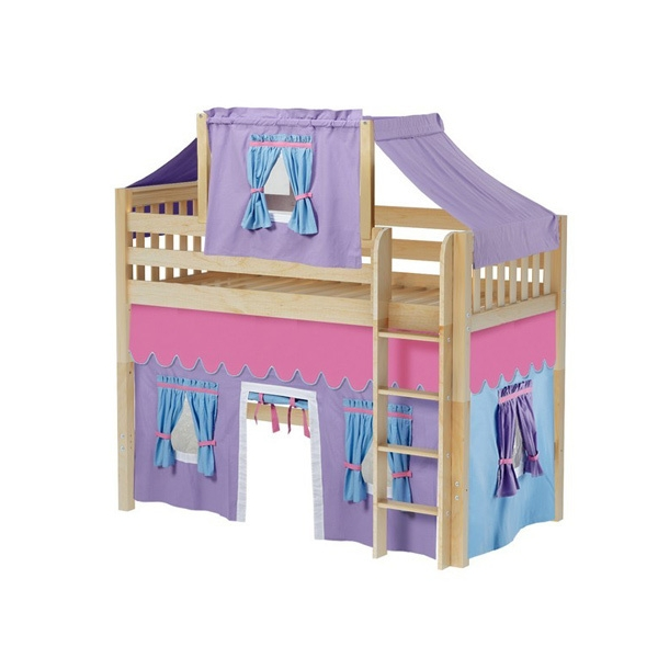 Mid Loft Bed w: Straight Ladder, Top Tent & Curtain (Natural) .jpg