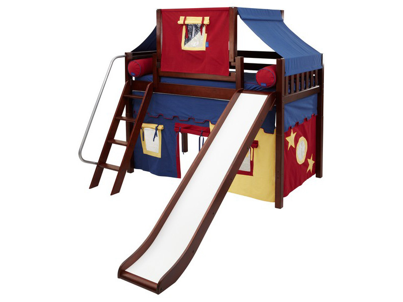 Mid Loft Panel Bed w: Angle Ladder, Slide, Top Tent & Curtains 7.jpg