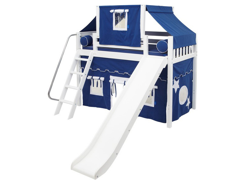 Mid Loft Panel Bed w: Angle Ladder, Slide, Top Tent & Curtains 3.jpg