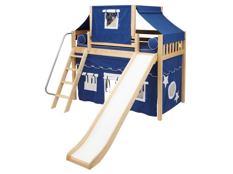 Mid Loft Panel Bed w: Angle Ladder, Slide, Top Tent & Curtains 2.jpg