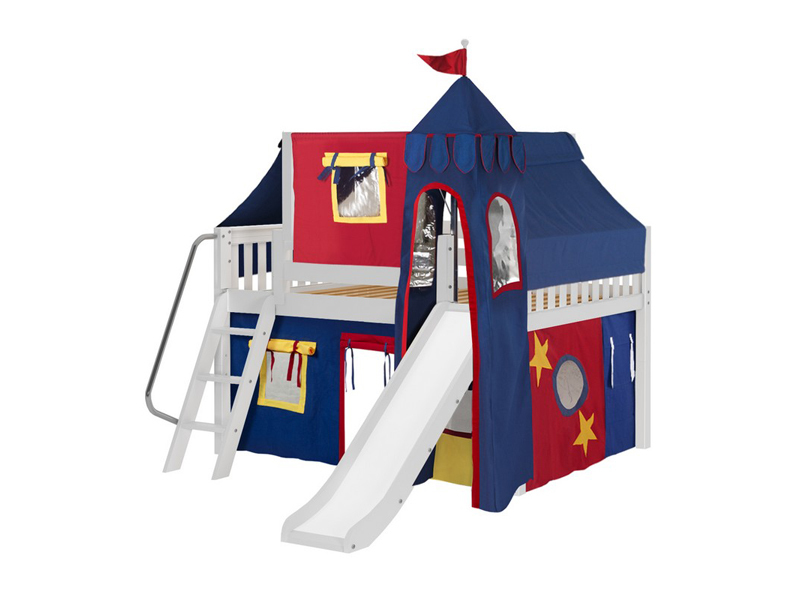 Low Loft Bed w: Angle Ladder, Slide, Tower, Top Tent & Curtain 3.jpg