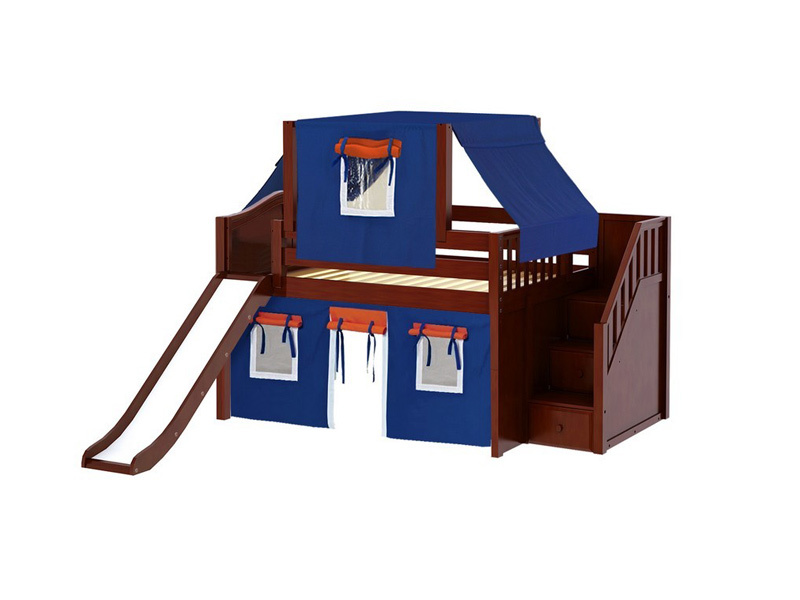 Low Loft Bed w: Staircase, Slide, Top Tent & Curtain (Chestnut) .jpg