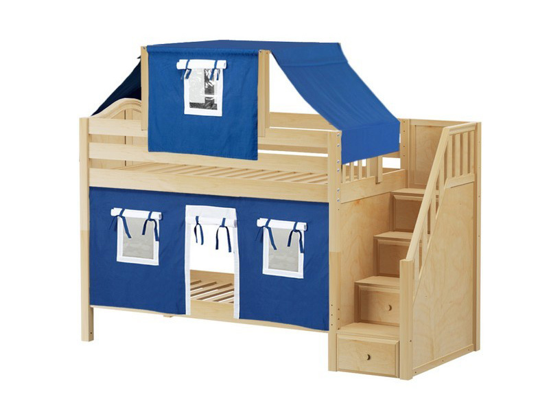 Low Bunk Bed with Staircase on End, Top Tent & Curtain (Natural) .jpg