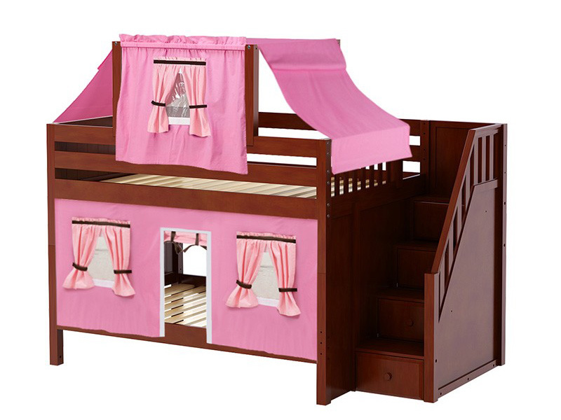 Low Bunk Bed with Staircase on End, Top Tent & Curtain (Chestnut) .jpg