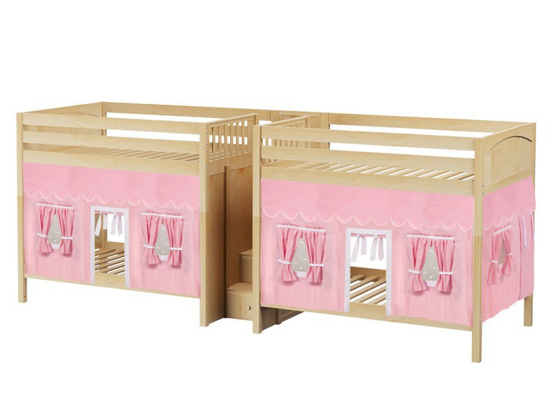 Quad High Bunk Bed w: Stairs & Underbed Curtains (Natural) 2.jpg