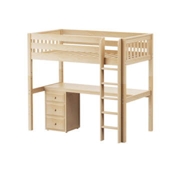 Twin XL High Loft Bed with Straight Ladder + Desk