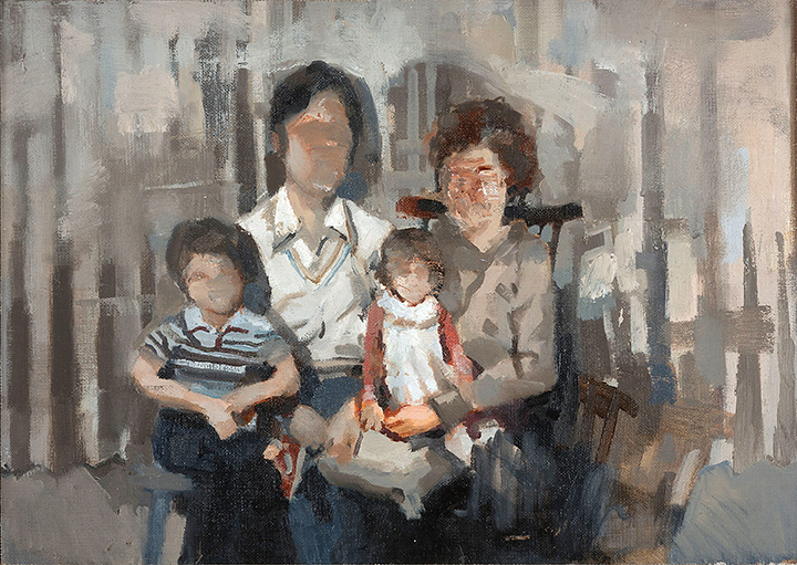 """ Family, 1983 "", oil on panel, 12x18, 2015"