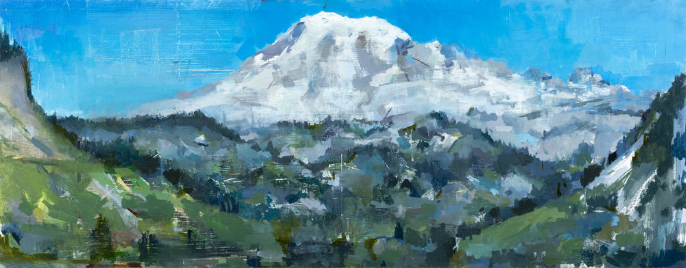 """"""" Tahoma Comission """", (""""Rainier"""" from the East), oil on panel, 14x40 inches, 2019"""
