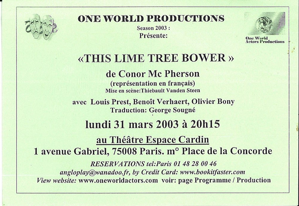 OWAP leaflet THIS LIME TREE BOWER Espace Cardin Paris France Kim Michelle BRODERICK Producer .jpg