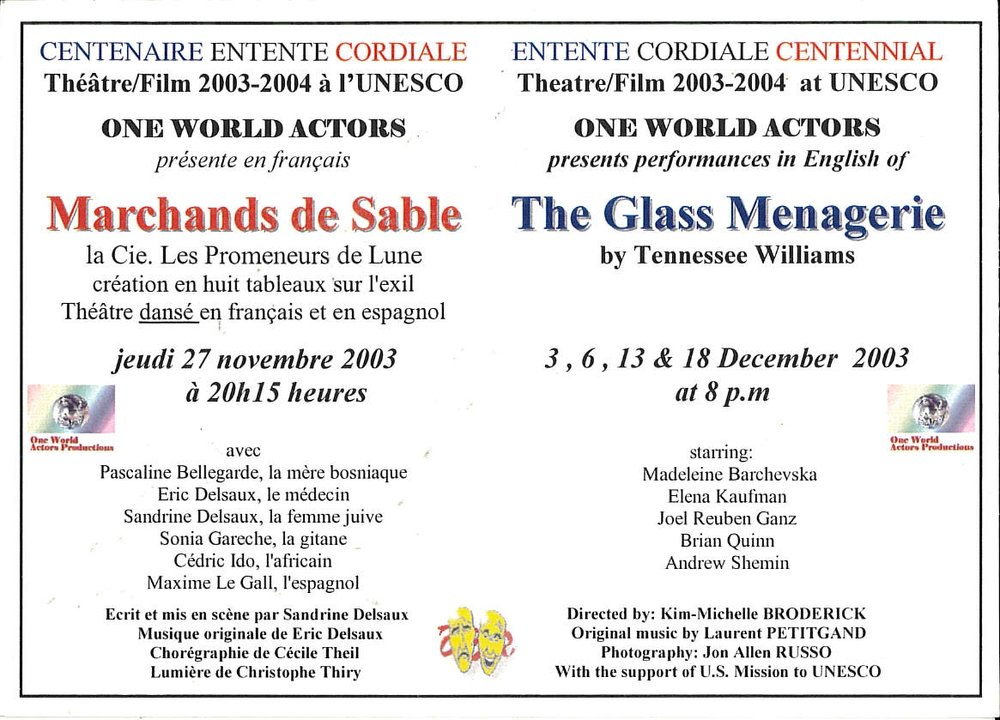 OWAP Leaflet Les Marchands de Sable and The Glass Menagerie by Tennessee Williams at UNESCO Paris France.jpg