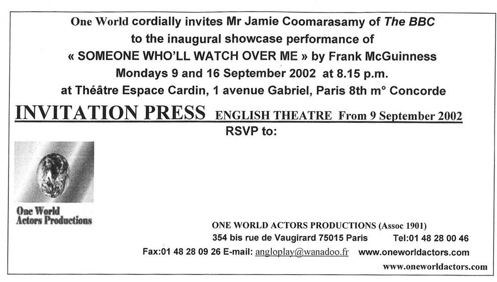 OWAP Inaugural Play at Espace Cardin Paris France  SOMEONE WHO'LL WATCH OVER ME directed by Kim Michelle BRODERICK .jpg