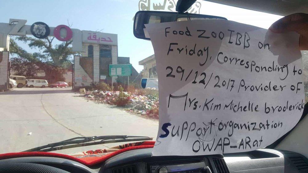 ibb zoo arrival at entrance with pour supplies 29 12 2017 Salman OWAP AR .jpg