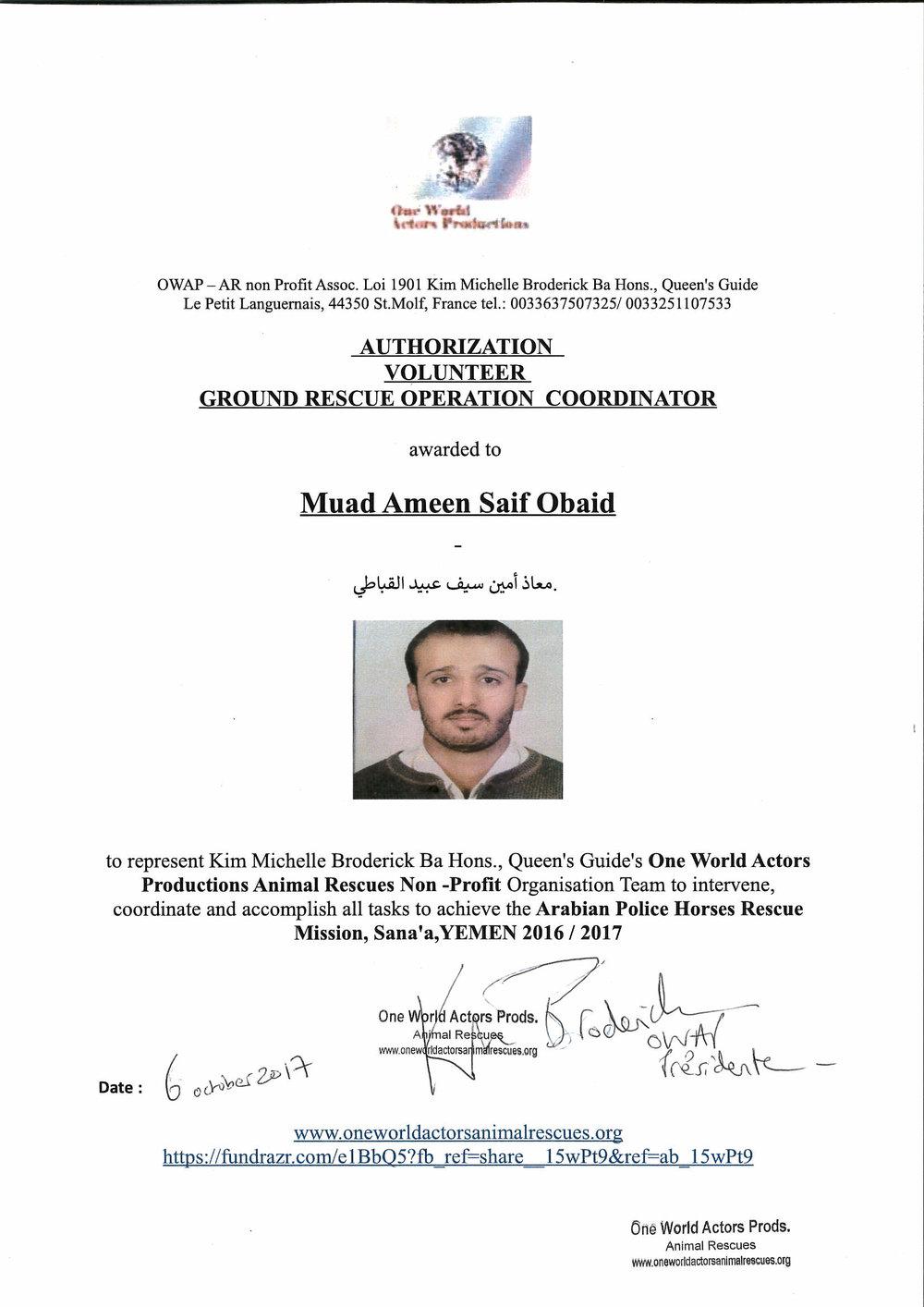 Volunteer Muad Ameen Saif Obaid OWAP-AR Arabian Police Horses Rescue Mission Sana'a Yemen.jpg