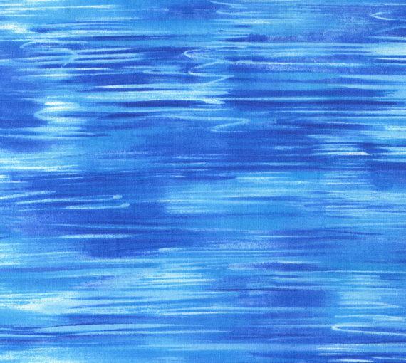 Blue wave decorator fabric