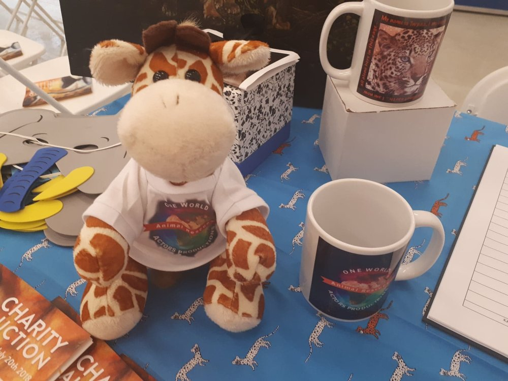 owapar merch  viggo the giraffe mugs T shirts TERA fabric 20 JULY 2018 our charity event welcome desk 1.jpg