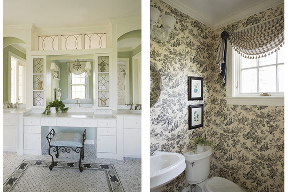 gentleman's farm master bath and powder room