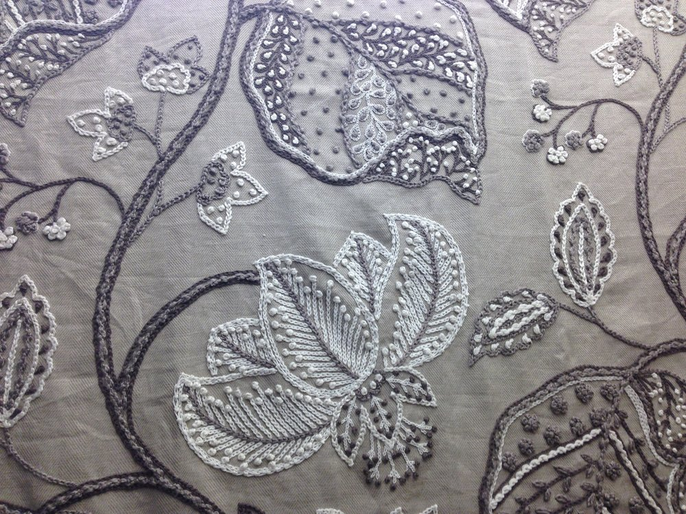 embroidered jacobean floral