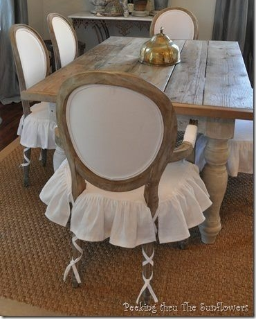 Dining seat slipcovers with ballet ties via  Peeking Thru the Sunflowers
