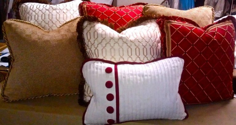 Custom pillows from our workroom ready for delivery to the client