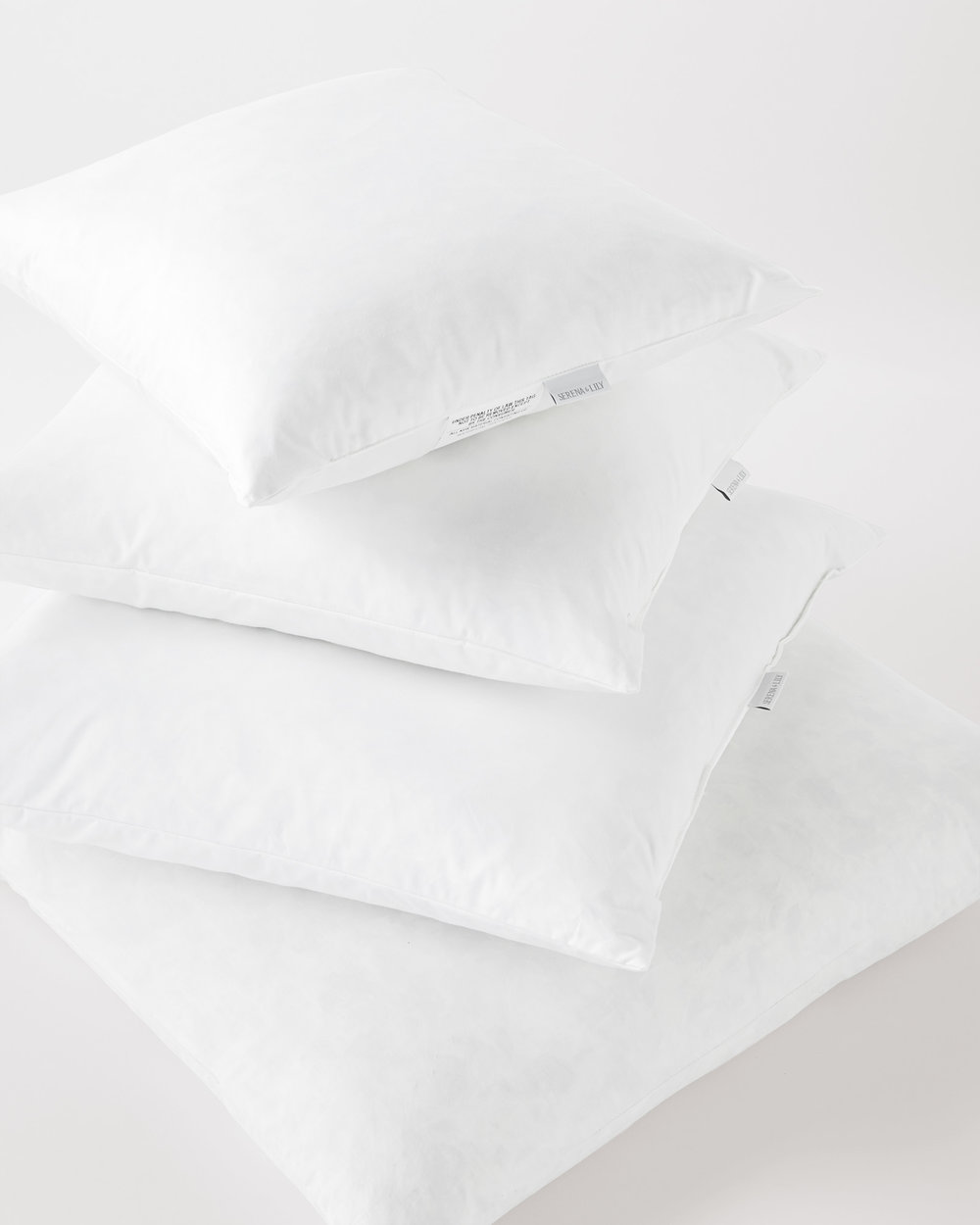click     HERE   for sizes and pricing for down and feather pillow inserts