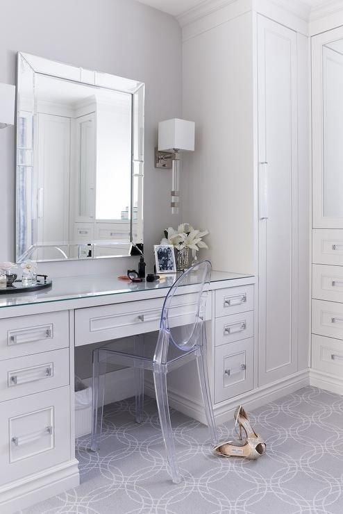 Built in dressing table with a lucite vanity chair in this design by the very talented   Tara Fingold   via   Style at Home
