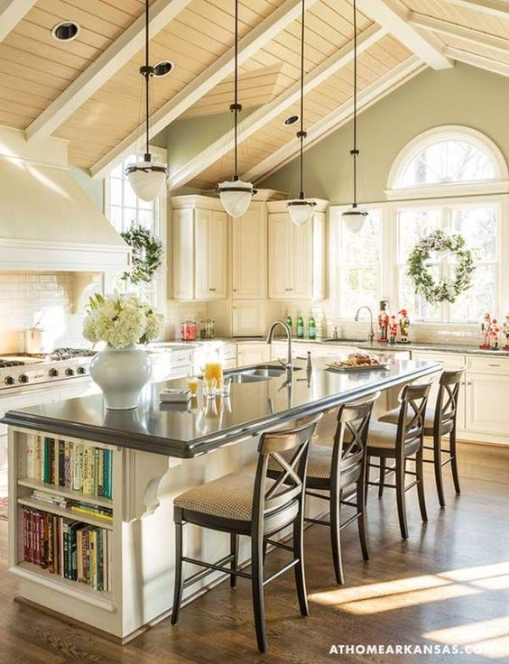 Classic X back counter stools in this elegant Kitchen by Gary Mertins via   At Home in Arkansas