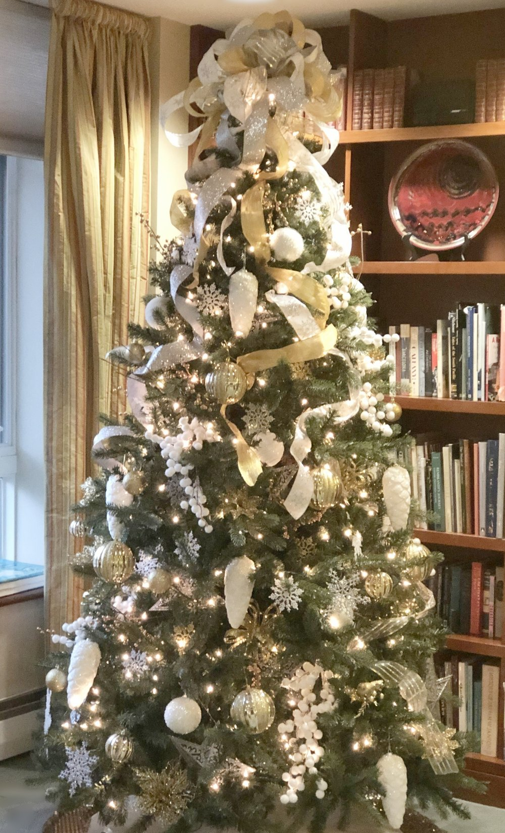 Elegant White, Silver, and Gold Library Tree
