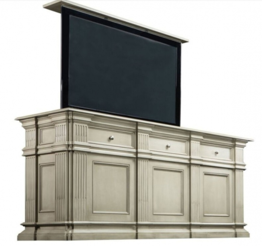Pop-up TV cabinet.   This company offers a wide variety of styles, sizes, and customization as well as the mechanisms that include a 360' swivel option.