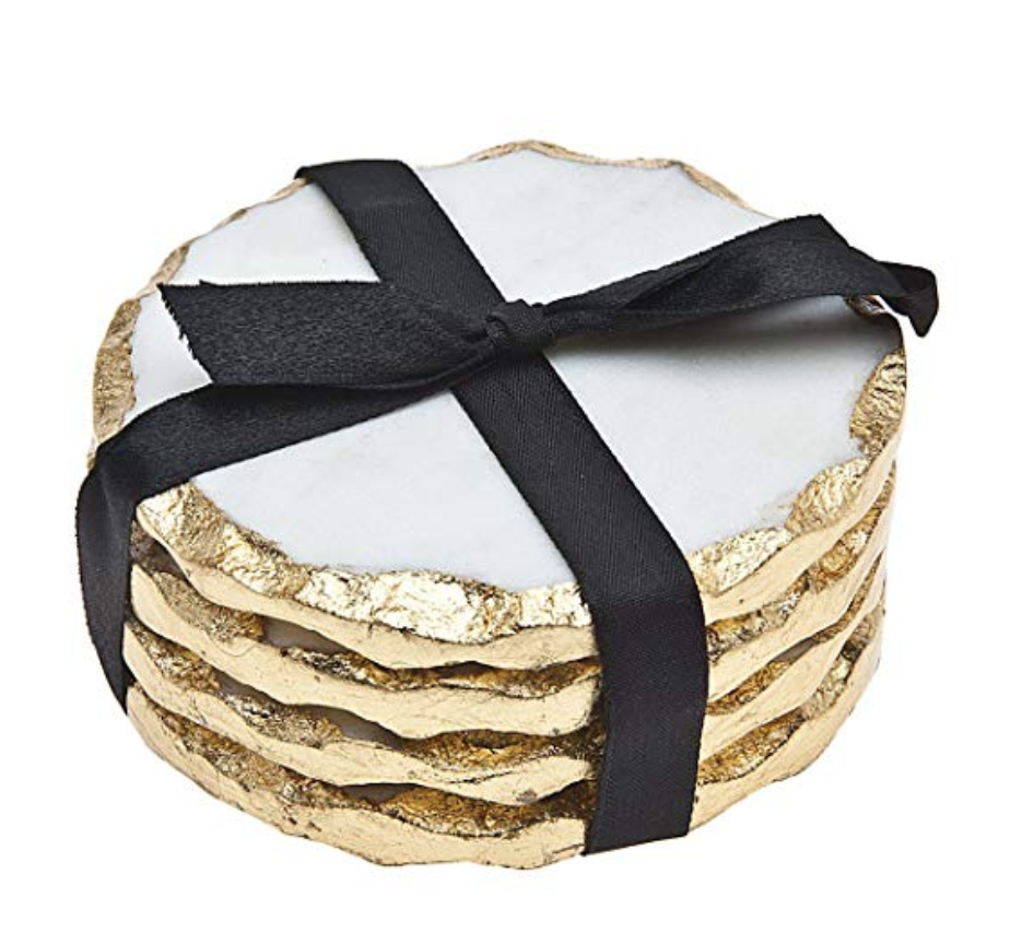 gold edged marble coasters