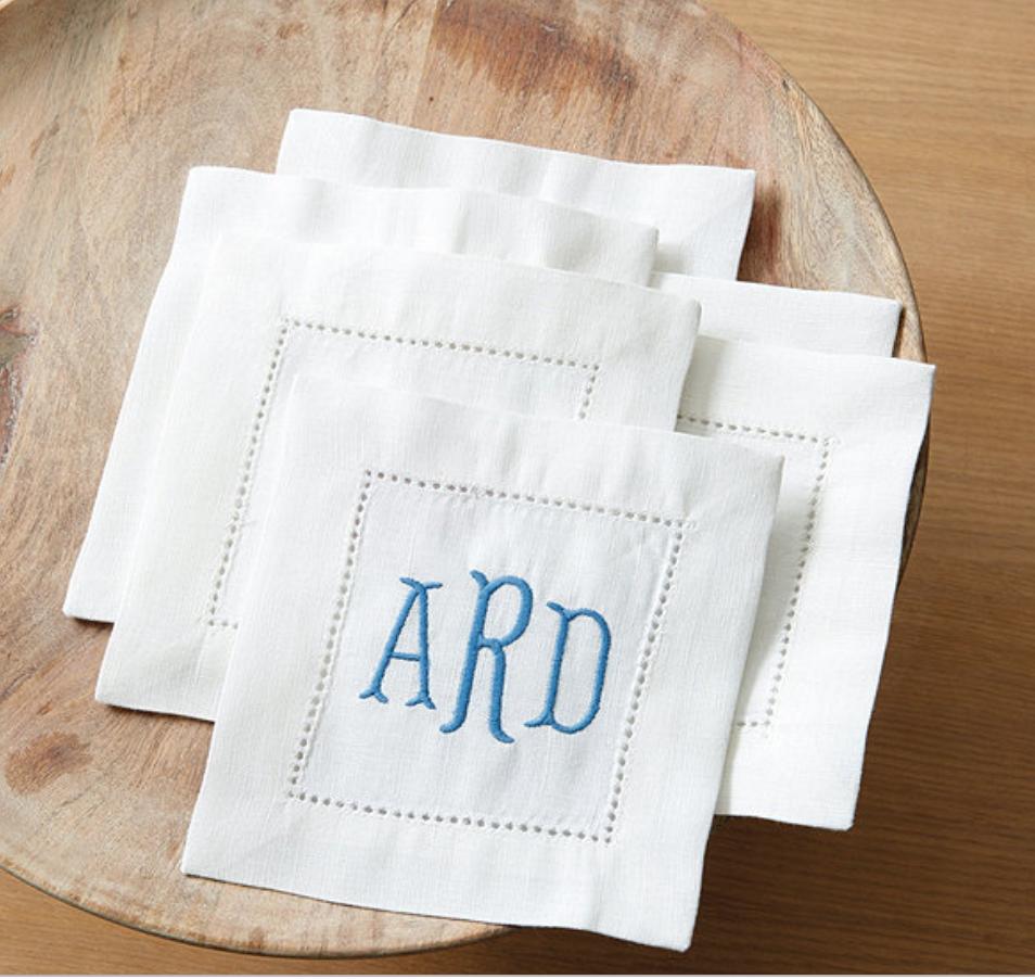 monogrammed cocktail napkins