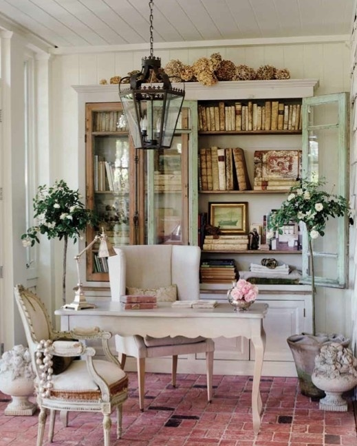 gorgeous  sunroom office of Brooke Gianetti with Tritter Feefer writing desk and Wisteria lantern