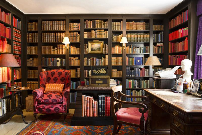 David Hicks library via   Domino  . Photography by   Brittany Ambridge