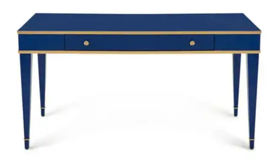Chic navy writing table by Barclay Buttera