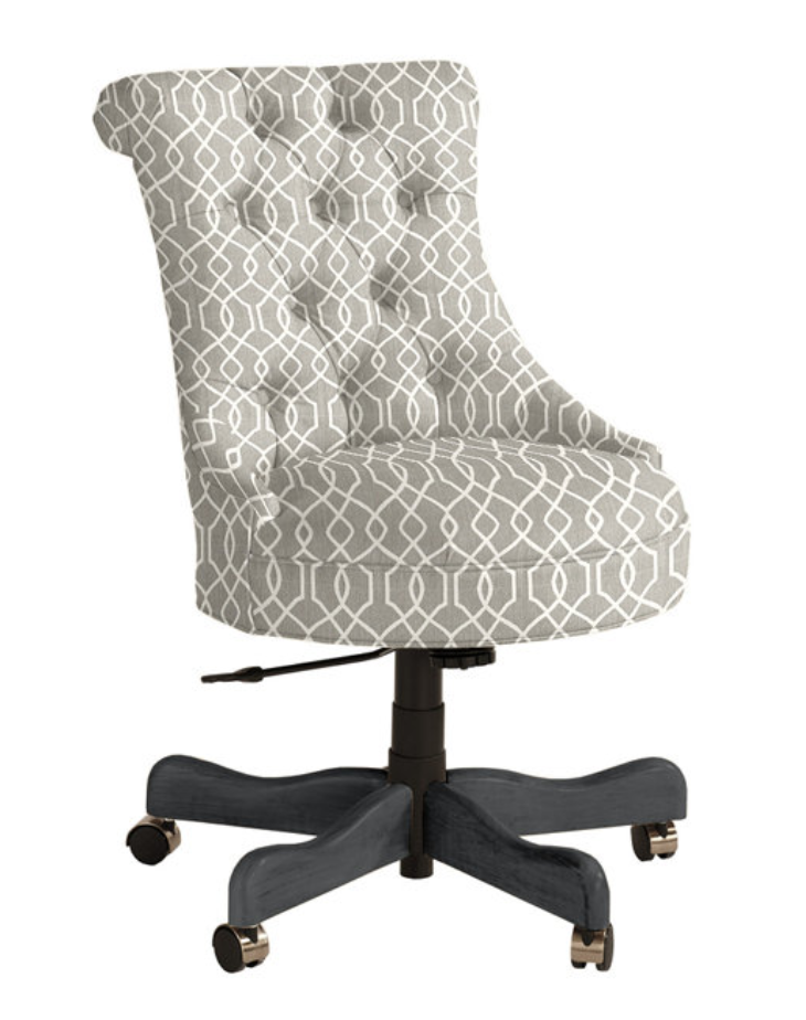 rolled back tufted desk chair, available in multiple fabric options