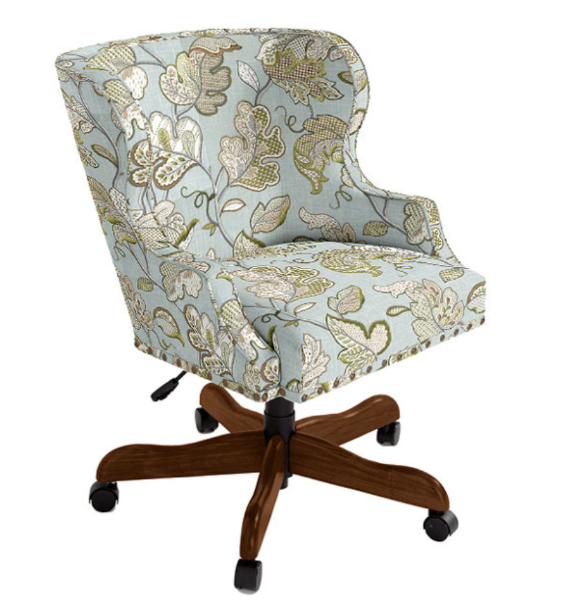 swivel desk chair available in multiple fabrics and finishes
