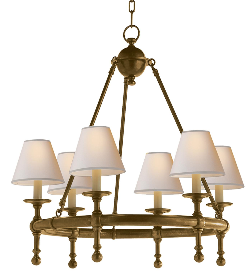 Classic brass ring chandelier