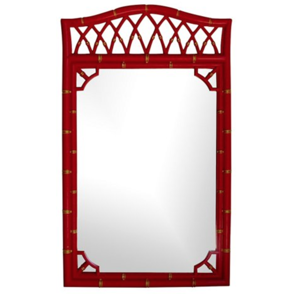 red faux bamboo mirror w gold accents