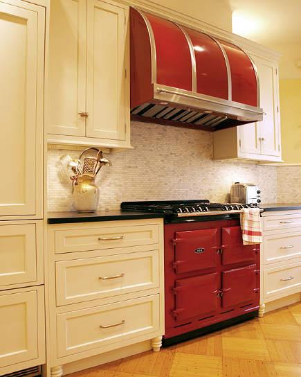 Beautiful Aga cooker in red via   Atticmag