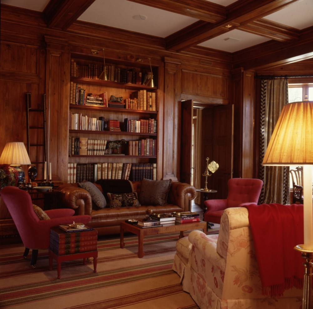 An inviting library in a Texas ranch, designed by   Bunny Williams