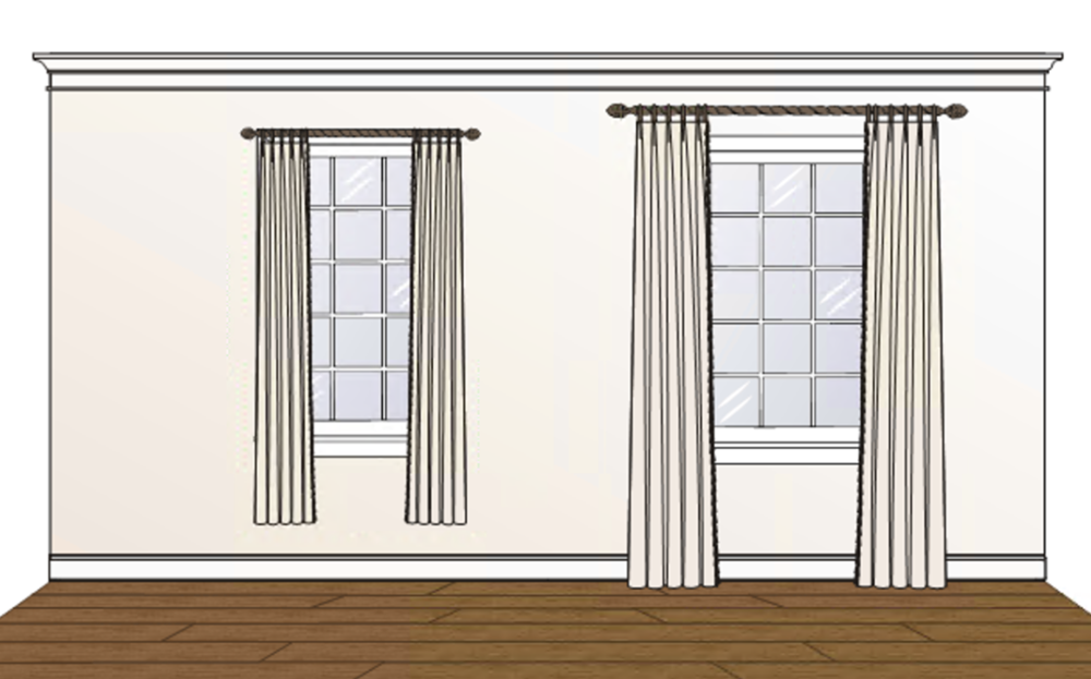 """In this illustration, the two windows are EXACTLY THE SAME SIZE. The curtains on the left are mounted on the window frame and don't reach the floor, the ones on the right are mounted above the window frame and fall to the floor giving the room a greater feeling of height, and 8"""" beyond the casing on each side exposing the greatest amount of glass and making the window feel much more generous."""