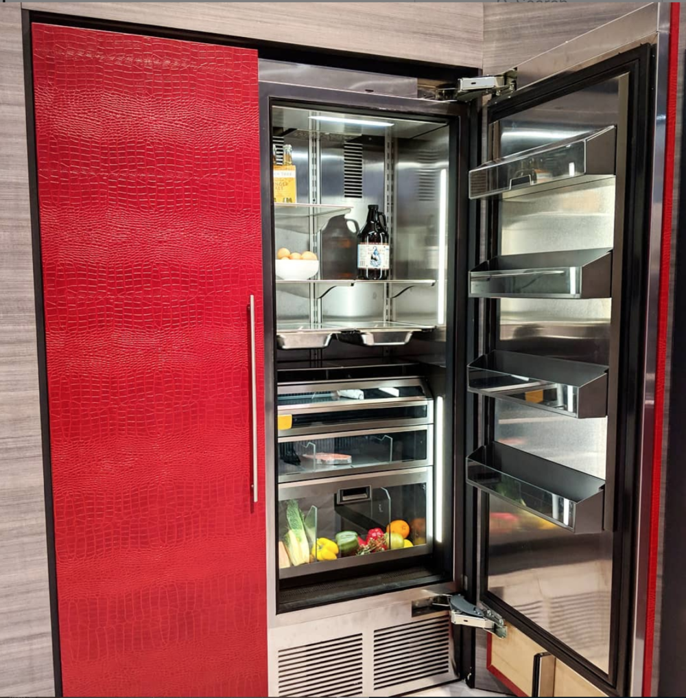 Red Crocodile leather fridge from   Perlick   at   KBIS