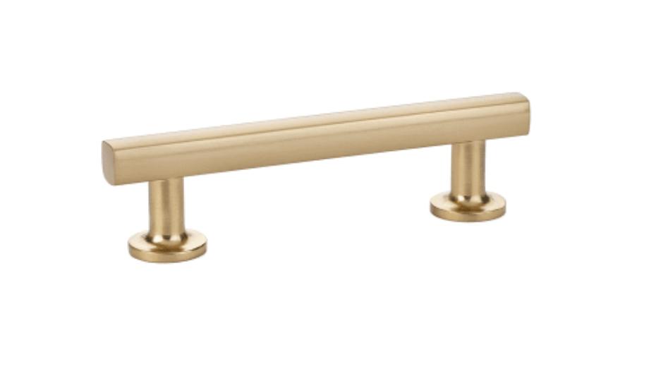 Emtek brushed brass cabinet pull