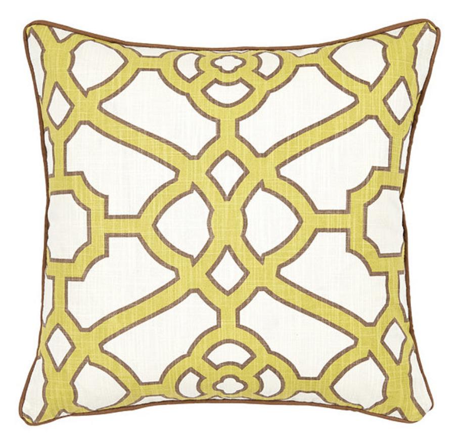 green fretwork pillow