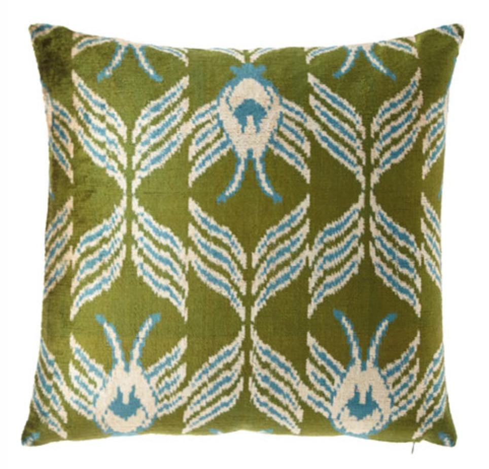 green woven pillow