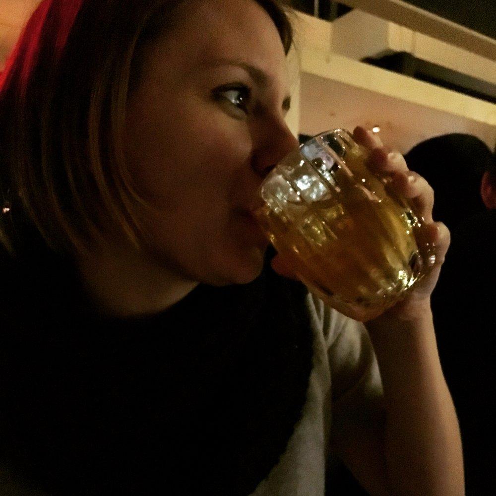 Drinking a Manhattan at Juniper