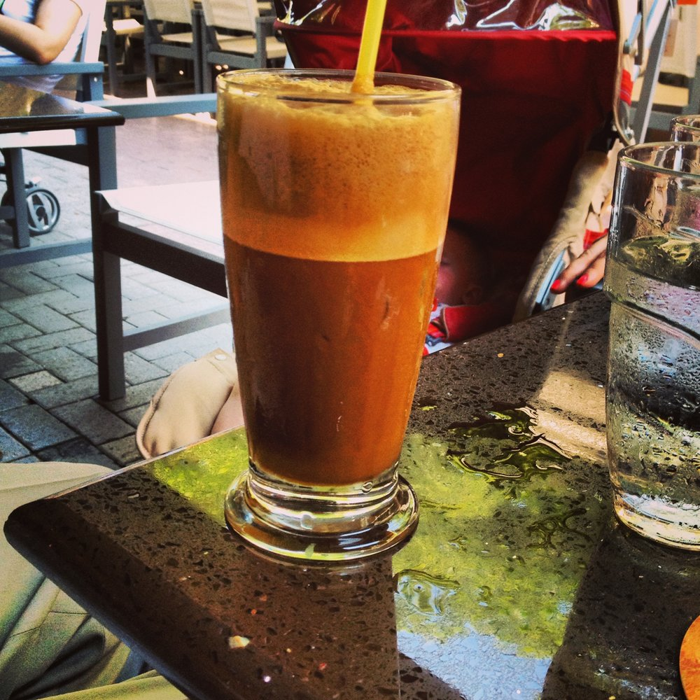 """My absolute favorite coffee ever is a Greek Frappé. Made from NesCafe, blended and poured over ice with a frothy top to it. I order """"sketo"""" or plain without milk. I love the flavor and high octane energy blast this one gives for sure!"""