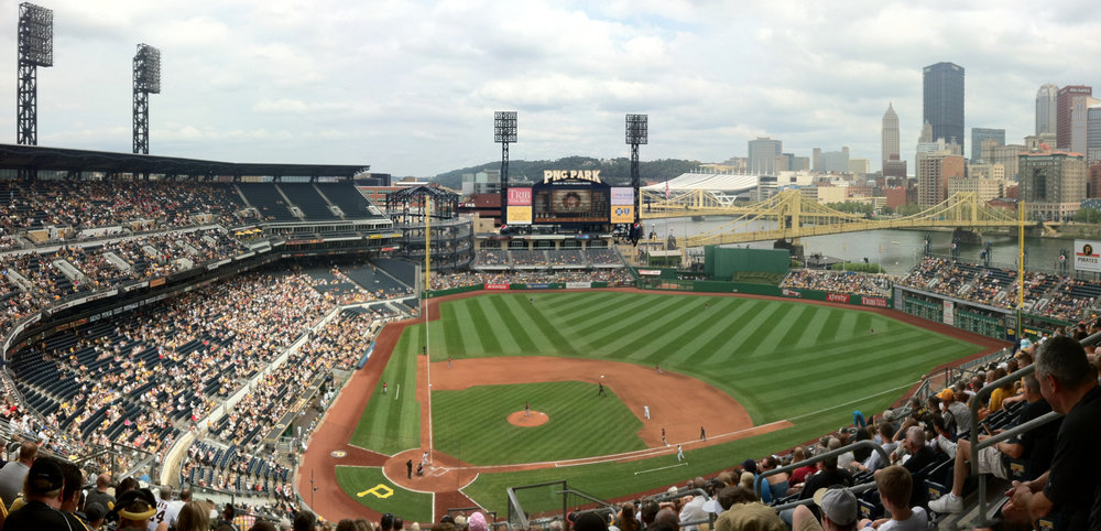 PNC Park (Pittsburgh) - The stadium has a great view of the Pittsburgh skyline, the river, and its bridges.