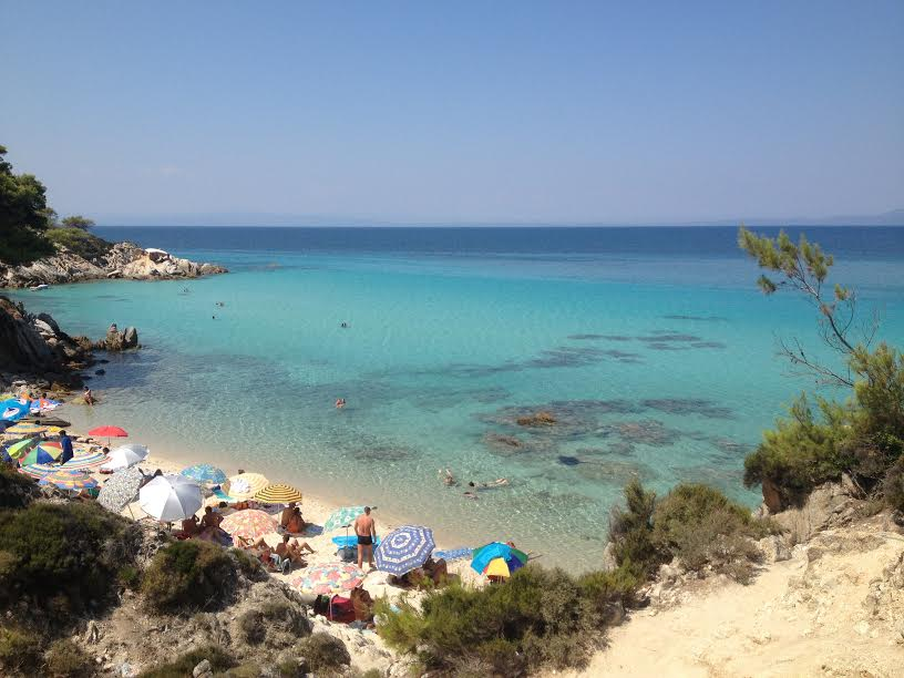The entire region of Halkidiki is filled with small beach coves and hip little towns you can drive all up and down throughout the day to visit, camp or stop for dinner. This cove was perfect for us as it didn't have many people. We love to find spots that have few to no one at all.