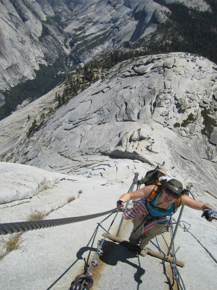 Gripping the infamous cables of Half Dome.
